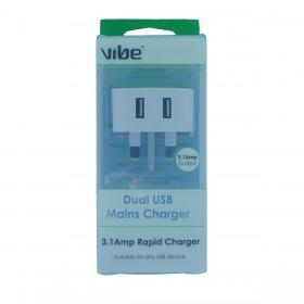Vibe 38554 Dual USB Mains Charger